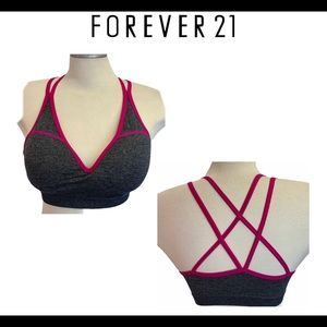 Forever 21 gray pink trim sports bra size large